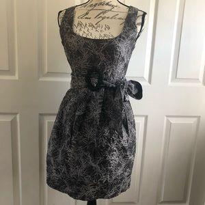 Eva Franco Jacquard Belted Brooch Cocktail Dress